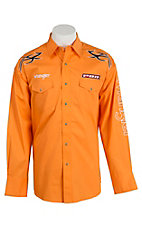Wrangler Men's Orange with Logo Embroidery Long Sleeve Western Shirt MHS192O