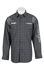 Wrangler Men's L/S Grey and Black Print Western Snap Shirt