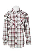 Wrangler Men's L/S White and Red Plaid Western Snap Shirt