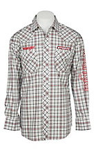 Wrangler Men's PBR White and Red Plaid Long Sleeve Western Snap Shirt
