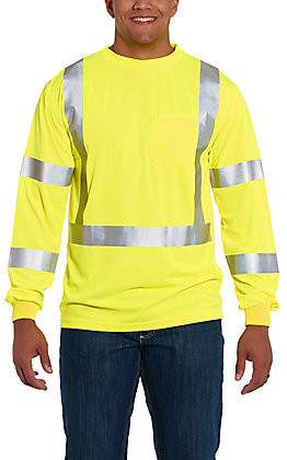 Forge Workwear Men's High Visibility Yellow with Reflective Tape Long Sleeve Work Shirt