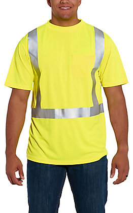 Forge Workwear Men's High Visibility Yellow with Reflective Tape Short Sleeve Work Shirt