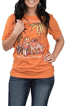 XOXO Art & Co. Women's Burnt Orange Mi Burro T-Shirt