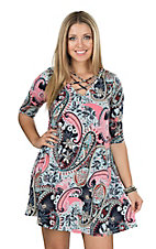 James C Women's Mint Floral Paisley Half Sleeve Dress