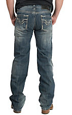 Rock & Roll Cowboy Medium Stonewash V Embroidered Pocket Pistol Regular Fit Straight Leg Jeans