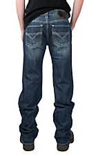 Rock & Roll Cowboy Men's Dark Wash Pistol Slim Straight with V Pieced Pocket Jeans