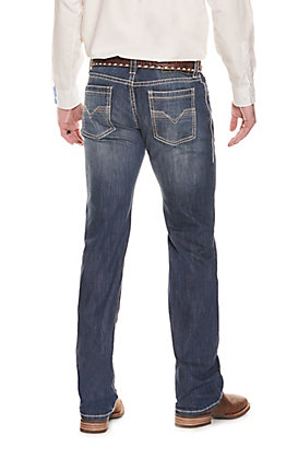 Rock & Roll Cowboy Men's Dark Wash Pistol Straight with Ivory Accent Stitching Jeans