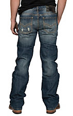 Rock & Roll Cowboy Men's Medium Wash Pistol Straight with Khaki Accent Stitching Jeans