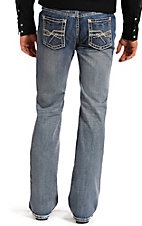 Rock & Roll Cowboy Men's Medium Vintage Wash Abstract Bar Embroidery Pistol Regular Fit Straight Leg Jean