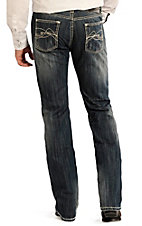 Rock & Roll Cowboy Men's Medium Wash Abstract Curved Embroidery Pistol Regular Fit Straight Leg Jean