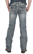 Rock & Roll Cowboy Men's White Wash Pistol Straight w/ Double V Pocket Stitching Denim Jeans