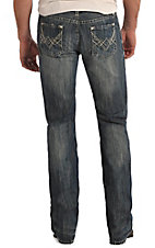 Rock & Roll Cowboy Men's Medium Vintage Wash Abstract A Embroidery Pistol Regular Fit Straight Leg Jean