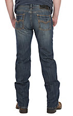 Rock & Roll Cowboy Men's Dark Wash Pistol Straight with Copper Pocket Stitching Denim Jeans