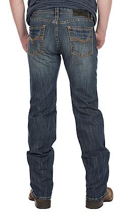 Rock & Roll Cowboy Men's Dark Wash Pistol Straight with Copper Pocket Stitching Denim Jeans