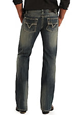 Rock & Roll Cowboy Men's Medium Stone Wash Large V Embroidered Straight Leg Jeans