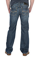 Rock & Roll Cowboy Men's Medium Wash Pistol Straight w/ Khaki Double V Pocket Stitching Denim Jeans