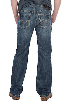 Rock & Roll Cowboy Men's Medium Wash Pistol Straight with Khaki Double V Pocket Stitching Denim Jeans