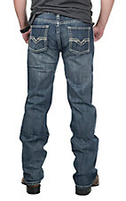 Rock & Roll Cowboy Men's Medium Wash Double V Embroidered Open Pockets Regular Straight Leg Jeans