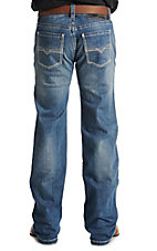 Rock & Roll Cowboy Men's Medium Wash Pistol Straight Reflex Vintage Small V Embroidered Denim Jeans