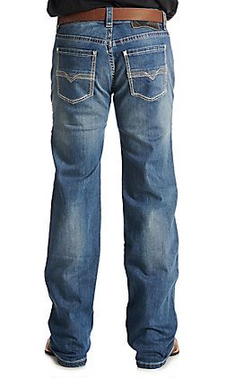 Rock & Roll Cowboy Men's Medium Wash Pistol Straight Reflex Vintage Small V Embroidered Denim Jeans