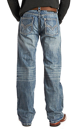 Rock & Roll Cowboy Men's Double Barrel Straight Leg Vintage Wash Stitched Pocket Jeans