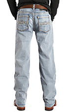 Rock & Roll Cowboy Men's Double Barrel Straight Leg Light Wash Stitched Pocket Jeans