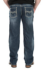 Rock & Roll Cowboy Men's Medium Wash Abstract V Regular Straight Leg Jeans