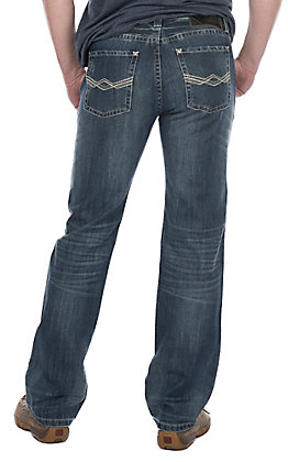 Rock & Roll Cowboy Medium Wash Revolver Slim Straight with Ivory & Grey Abstract Pocket Jeans