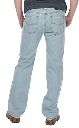 Rock & Roll Cowboy Bleached Revolver Slim Straight with Small V Stitched Pocket Jeans