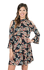 James C Women's Navy and Rust Paisley Print Cold Shoulder Long Bell Sleeve Dress