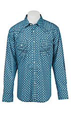 Wrangler 20X Men's L/S Light Blue Print Western Snap Shirt