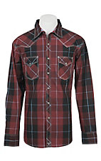 Wrangler 20X Men's L/S Black and Red Plaid Western Snap Shirt