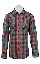 Wrangler 20X Men's L/S Charcoal and Wine Plaid Western Snap Shirt