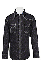Wrangler 20X Men's L/S Black and Purple Mini Print Western Snap Shirt