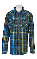 Wrangler 20X Men's L/S Blue and Lime Plaid Western Snap Shirt