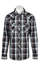 Wrangler 20X Men's L/S Black, White, and Red Plaid Western Snap Shirt