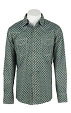 Wrangler 20X Men's L/S Olive and Grey Medallion Print Western Snap Shirt