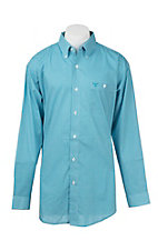 Wrangler 20X Men's Turquoise and White Medallion Print L/S Western Shirt