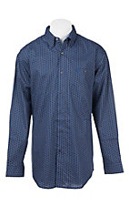 Wrangler 20X Men's Blue and Black Medallion Print L/S Western Shirt