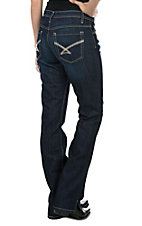 Cinch Women's Kylie Dark Wash Mid Rise Slim Fit Open Pocket Boot Cut Jeans