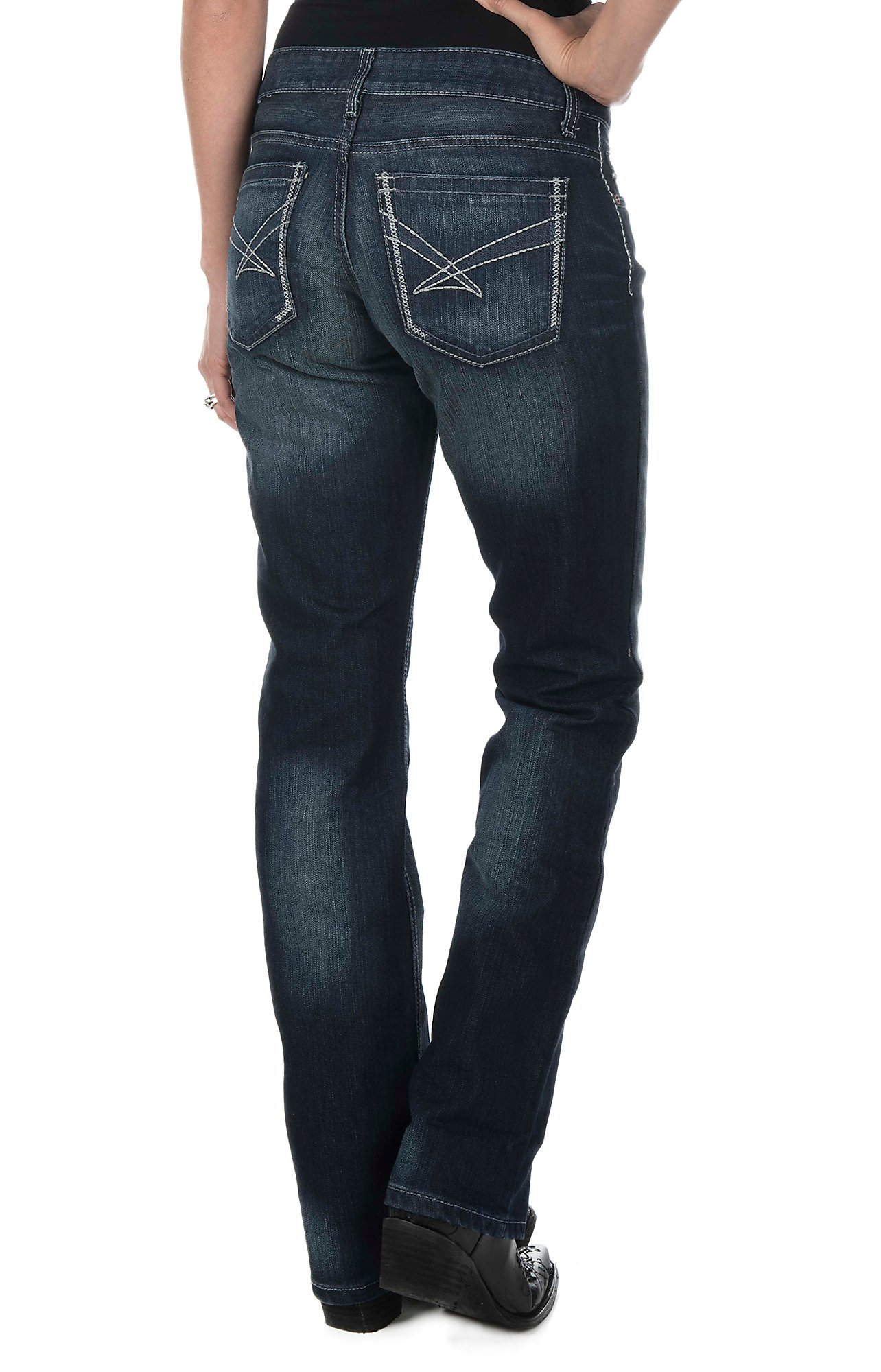 Cinch Women's Dark Wash Open Pocket Relaxed Fit Boot Cut Jeans ...
