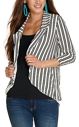 Moa Moa Women's White with Black Stripes Split Back 3/4 Sleeve Blazer Jacket