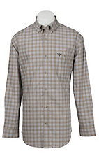 Wrangler 20X Men's L/S Brown and Blue Plaid Western Shirt
