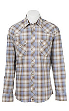 Wrangler 20X Men's L/S Brown, Blue, and White Plaid Western Shirt