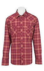 Wrangler 20X Men's L/S Burgundy and Orange Plaid Western Snap Shirt