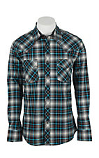 Wrangler 20X Men's L/S Black, Tan, and Turquoise Plaid Western Snap Shirt