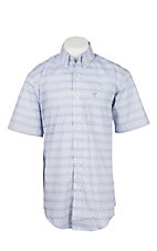 Wrangler 20X Competition Men's White with Blue Print S/S Western Shirt