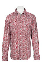 Wrangler 20X Comfort Men's Red Paisley L/S Western Snap Shirt