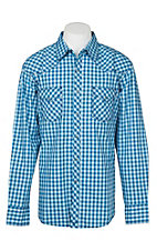 Wrangler 20X Comfort Men's Blue Plaid L/S Western Snap Shirt
