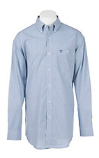 Wrangler 20X Men's Comfort Blue and Navy Checkered L/S Western Shirt